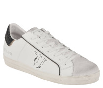 Sneaker, Leder, Used-Look, Weiß