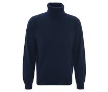 Pullover, uni, Kaschmir, Rollkragen, Rippbündchen, Blau