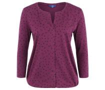 Shirt, 3/4-Arm, Allover-Print, Split-Neck, Lila