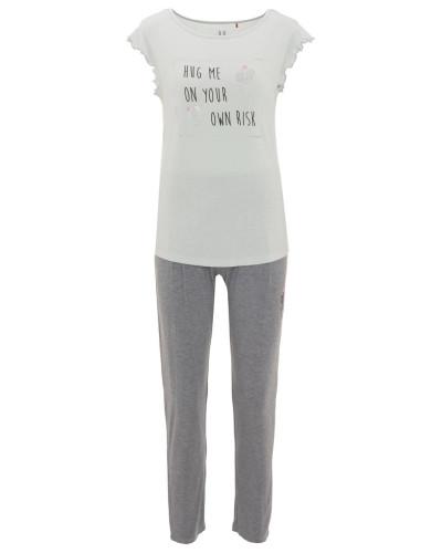 Schlafanzug, Volant-Ärmel, Front-Print, leicht transparent
