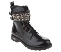 Boots, Zierschnalle, Nieten, Strass, Schwarz