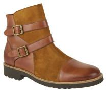 Stiefel, Leder, Schnallen, Profilsohle, Reißverschluss, Braun