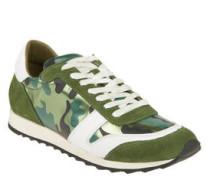 Sneaker, Veloursleder, glänzender Besatz
