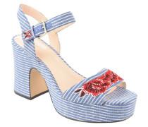 Sandalette, Plateausohle, Streifen, Blumen-Stickerei, Perlen-Besatz