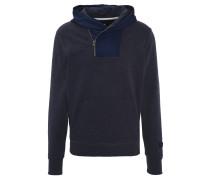 Sweatshirt, seitlicher Reißverschluss, Kapuze, Blau