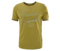 T-Shirt, Print, Flammgarn-Optik, Grün