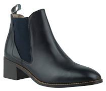 Chelsea Boots, Rindsleder, Blockabsatz, Zuglasche, Schwarz