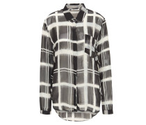 Bluse, transparente, Langarm, Karomuster