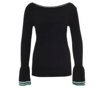 Pullover, Streifen, ausgestellte Ärmel, gerader Ausschnitt, Schwarz