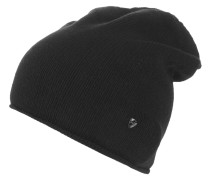 Mütze, Kaschmir-Anteil, Rollsaum, Emblem