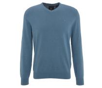 Pullover, Baumwolle, V-Ausschnitt, Langarm, Blau