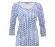 Shirt, 3/4-Arm, geometrisches Muster, Baumwolle, Blau
