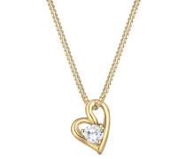 Halskette Herz Liebe Zirkonia 585 Gelb Kristina