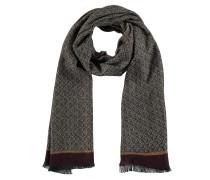 Schal, Woll-Anteil, geometrisches Muster, farblich abgesetzter Bund