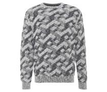 Pullover, Rundhals, Zacken-Muster, Bündchen, Blau