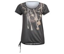 Trainingsshirt, Kordelzug, Ketten-Print, für Damen, Schwarz