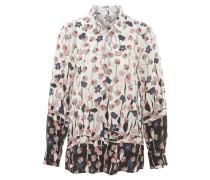 Hemdbluse, florales Design, Farbverlauf, Weiß