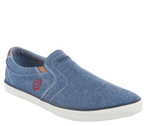 Slipper, Denim, Elastik-Einsätze, Logo-Stickerei, Blau