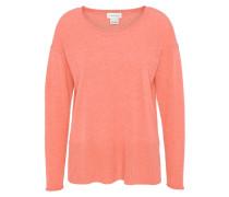 Pullover, uni, Rippbündchen, offene Seiten, Kaschmir, Orange