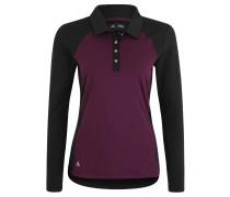 Poloshirt, Langarm, Knopfleiste, für Damen, Schwarz