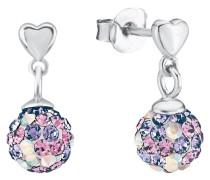 Ohrhänger mit Kugel aus Kristallen in lila & rosa Silber 925