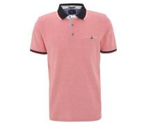 Poloshirt, meliert, Brusttasche, Baumwoll-Piqué, Rot