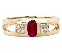 Ring, Rubin, mit Diamanten, Gold 375, zus. 0.04 Ct.