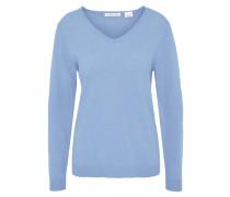 Pullover, Merinowolle, Kaschmir-Anteil, V-Ausschnitt, Blau
