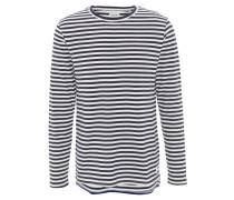 Langarmshirt, gestreift, verlängertes Rückenteil, Baumwolle, Weiß