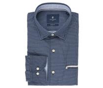 Businesshemd, Modern Fit, verdeckter Button-Down-Kragen, Blau