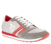 Sneaker, Textil-Leder-Mix, Plastik-Ferse, Rot