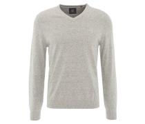 Pullover, meliert, V-Ausschnitt, Emblem, Rippbündchen, Grau