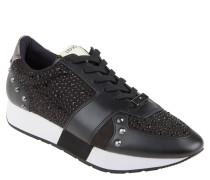 "Sneaker ""Aura"", Leder, Strass-Details, Nieten, Schwarz"