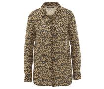 Hemdbluse, Leopard-Muster, Saum abgerundet, Beige