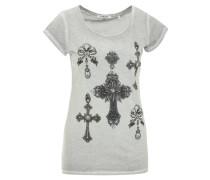 T-Shirt, Print, Strass, Washed-Out-Effekt, Grau