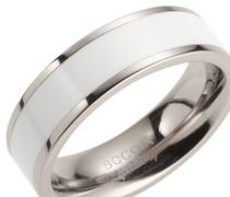 Ring Titan mit Emaille weiß 0123-06
