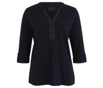Shirt, Blende mit Nietenbesatz, Ärmelsäume mit Aufschlag, Blau