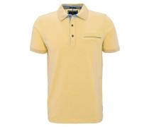 Poloshirt, Piqué-Struktur, Brusttasche, Baumwolle, Gelb