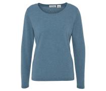 Pullover, meliert, Kaschmir, Rundhalsausschnitt, Blau