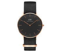 Classic Black Armbanduhr Cornwall, Rose Gold 36 mm DW00100150