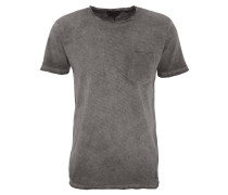 T-Shirt, gestreift, Washed-Out-Effekt, Brusttasche