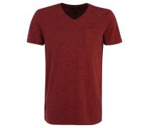 T-Shirt, V-Ausschnitt, meliert, Stickerei, Rot