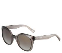 Sonnenbrille, transparentes Gestell, grau, gerundete Gläser