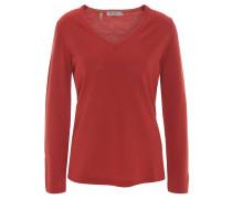 Pullover, reine Schurwolle, V-Ausschnitt, Rot
