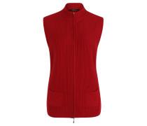 Strickweste, Stehkragen, aufgesetzte Taschen, Rot