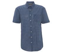 Freizeithemd, Kurzarm, gemustert, Brusttasche, Blau