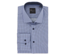 "Businesshemd ""Black Label"", Slim Fit, Kent-Kragen, gemustert, Blau"
