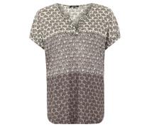 T-Shirt, Leinen, ornamentaler Print, Splitneck, Grau