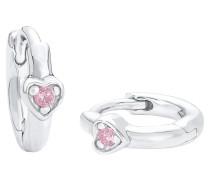 Klappcreolen, Herz mit rosa Zirkonia, Silber 925