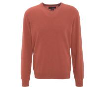 Pullover, Kaschmir, V-Ausschnitt, Rippbündchen, Orange